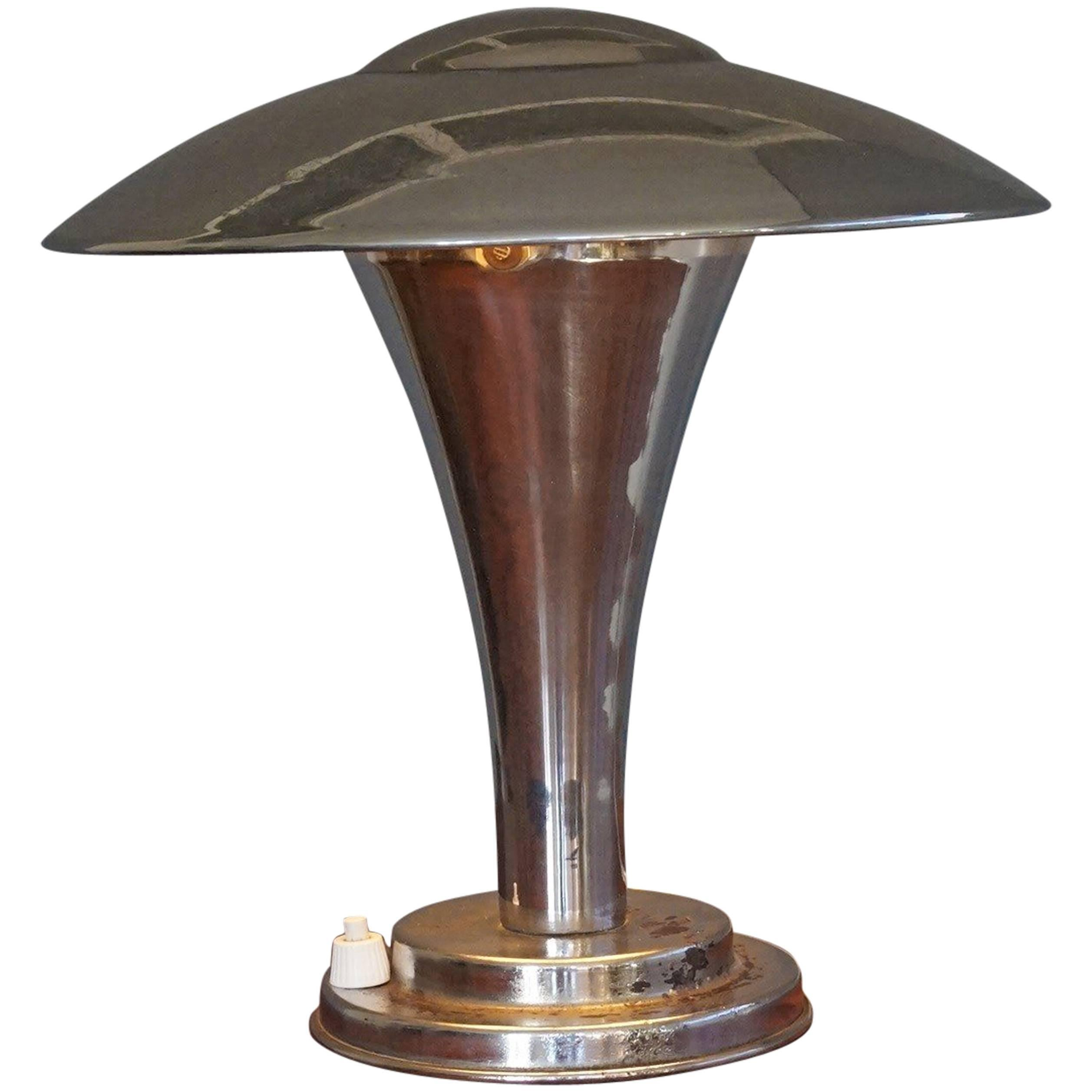 Rare Early 1900s Chrome Art Deco Table or Desk Lamp with Adjustable Shade