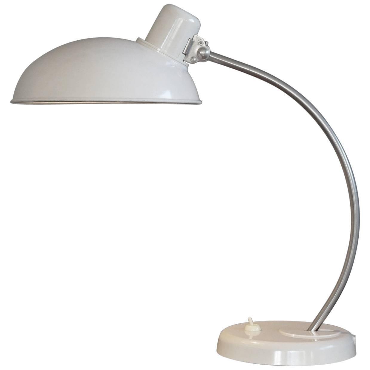 Rare & Highly Stylish Mid-Century Bauhaus Style White Bakelite Table / Desk Lamp