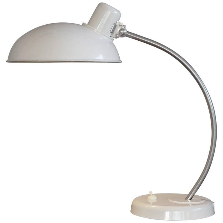 Rare & Highly Stylish Mid-Century Bauhaus Style White Bakelite Table / Desk Lamp