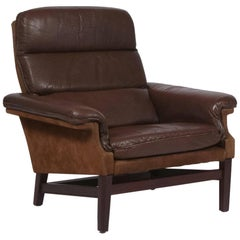 Midcentury Leather and Suede Lounge Chair