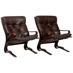1970s Brown Leather Armchairs