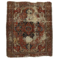 Distressed Antique Persian Serapi Rug with Rustic Industrial Adirondack Style