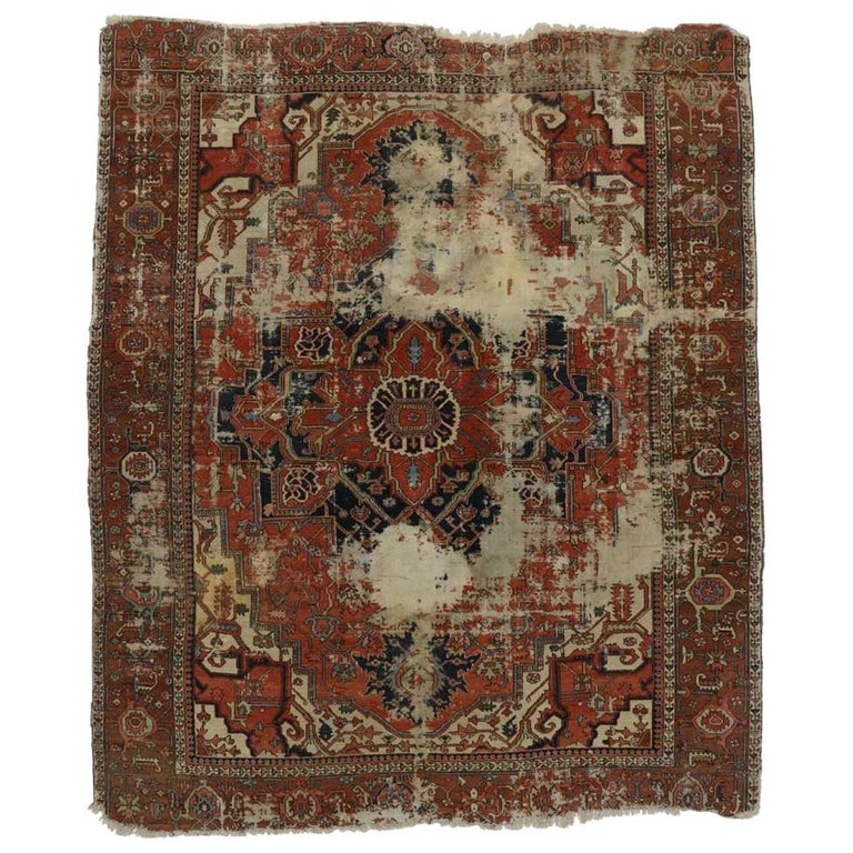 Rustic Rugs Topeka Ks: Distressed Antique Persian Serapi Rug With Rustic