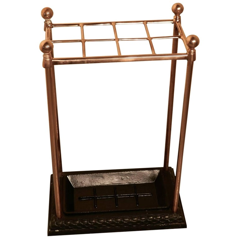 Victorian Copper and Cast Iron Walking Stick Stand or Umbrella Stand