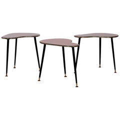 Set of Three Kidney Shape Side Tables