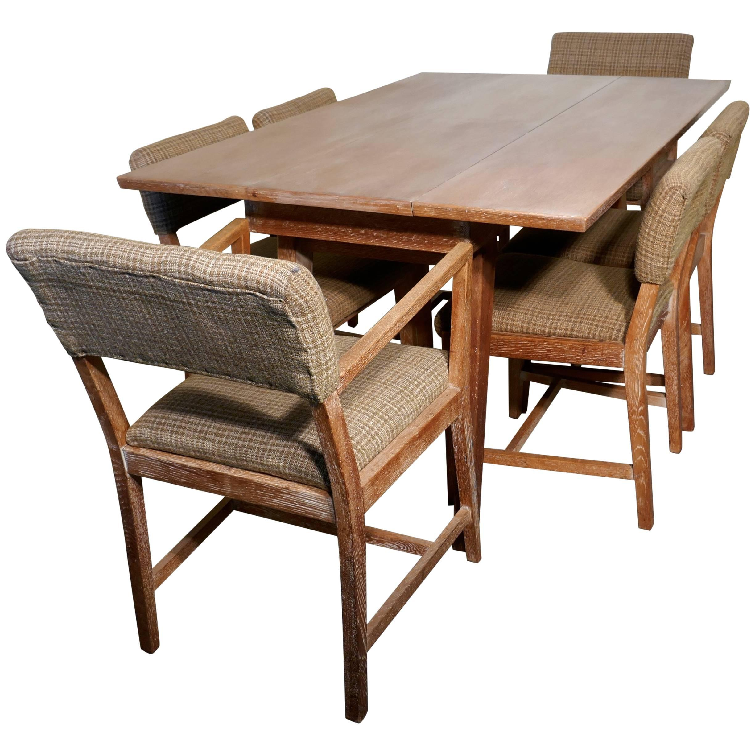 1950s Limed Oak Extending Dining Table And Set Of Six Chairs For Sale