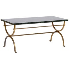 Italian Green Marble and Brass Coffee Table