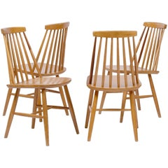 Set of Four Midcentury Spindle Back Chairs