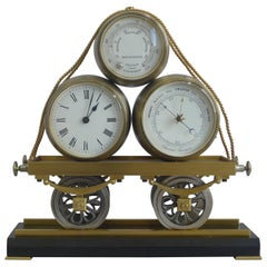 19th Century Industrial Mantel Clock Modelled as a Railway Wagon by Guilmet