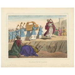 Antique Religious Print 'No. 9' the Ark Brought to Jerusalem, circa 1840