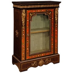 French Display Cabinet in Painted Wood with Brass and Bronzes in Boulle Style