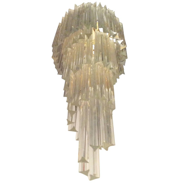 Murano Spiral Chandelier: Large Murano Spiral Cascade Chandelier At 1stdibs