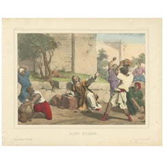 Antique Religious Print 'No. 44' Saint Stephen, circa 1840