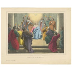 Antique Religious Print 'No. 43' the Descent of the Holy Spirit, circa 1840