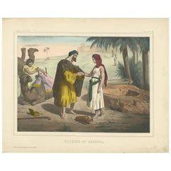 Antique Religious Print 'No. 13' Rebecca and Eliezer at the Well, circa 1840
