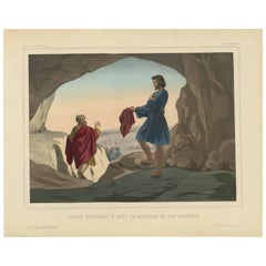 Religious Print 'No. 8' David Showing Saul the Tip of His Coat, circa 1840