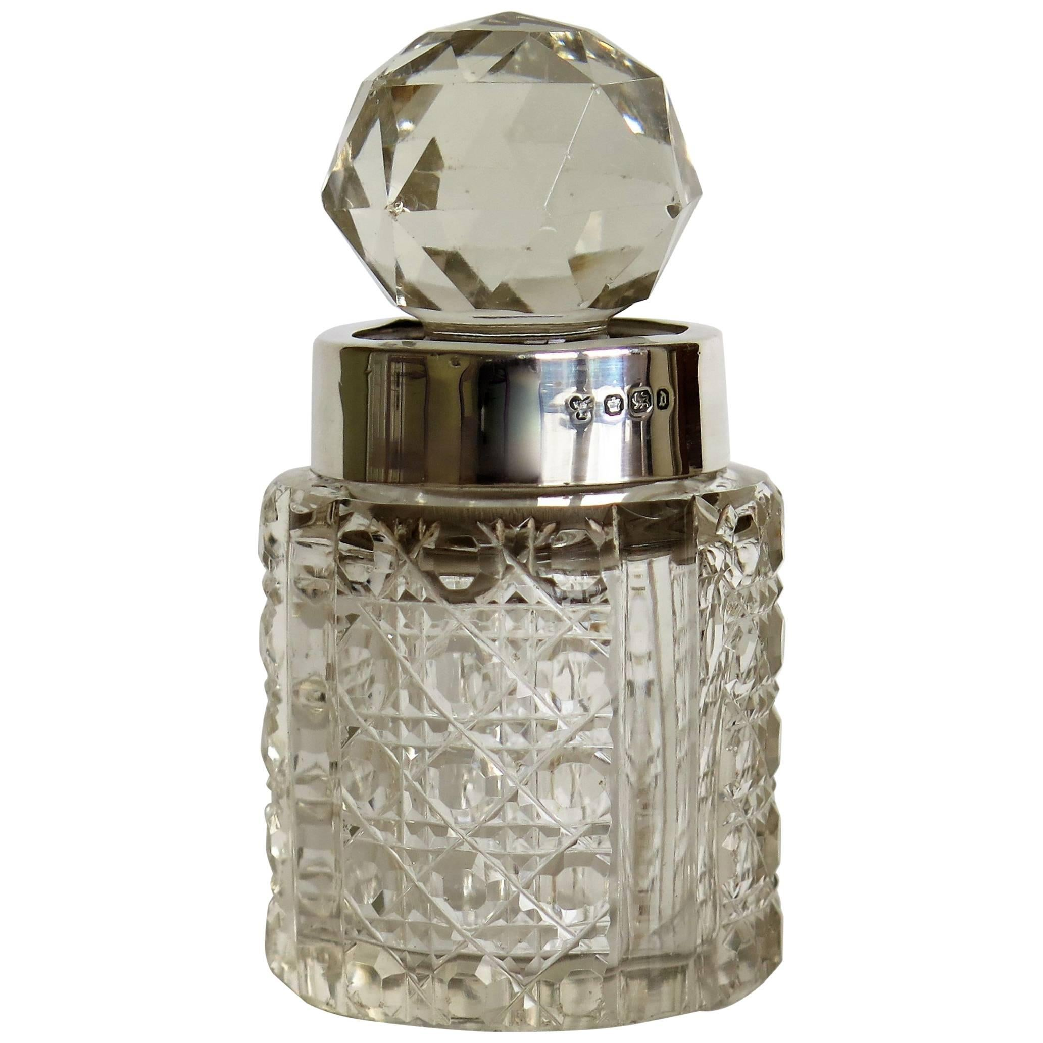 Victorian Cut-Glass Crystal Perfume Bottle Sterling Silver Neck Ring, Circa 1896