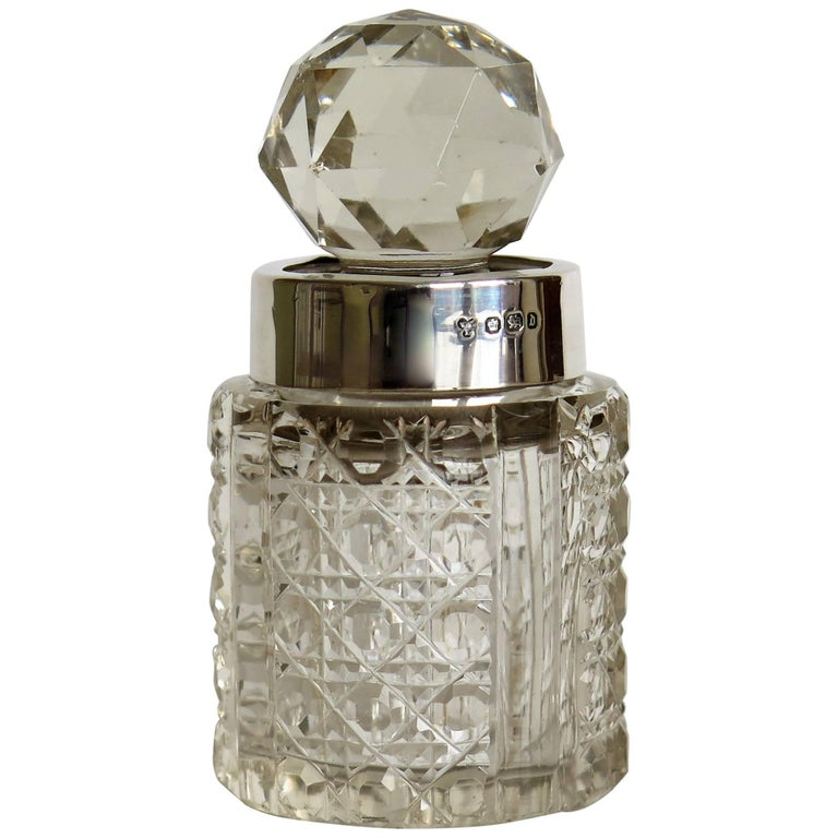 Cut-Glass Crystal Perfume Bottle, Sterling Silver Neck Ring, circa 1896