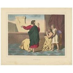 Antique Religious Print 'No. 19' Hezekiah, circa 1840