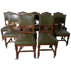 Set of 11 Arts & Crafts Golden Oak and Leather Dining Chairs