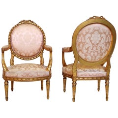Pair of Louis XVI Style Giltwood Medallion Backrest Armchairs, Late 19th Century