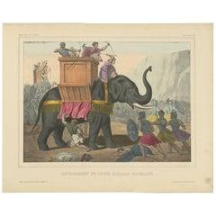 Antique Religious Print 'No. 29' Eleazar Attacks the Elephant, circa 1840