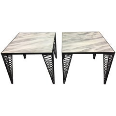 Cool Pair of Salterini Mid-Century Modern Black Iron and White Marble End Tables