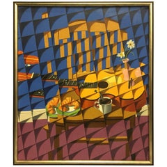 Large Cubist Style Abstract Painting