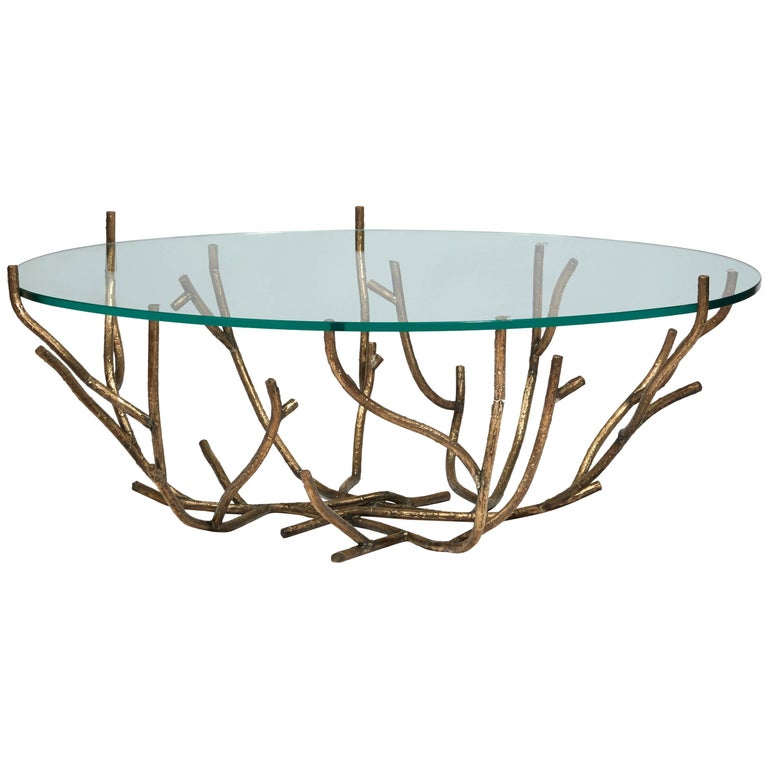 Coffee Table with a Bough Base in Patinated Bronze and Glass Top