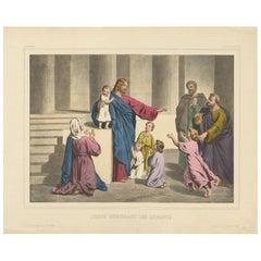 Antique Religious Print 'No. 13' Jesus Blessing the Children, circa 1840