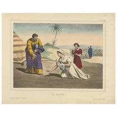 Antique Religious Print 'No. 25' Manna, circa 1840