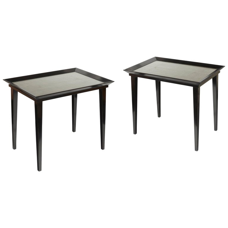 Pair of Blackened Wood and Glass Tables For Sale