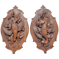 Large Pair of 19th Century Black Forest Plaques