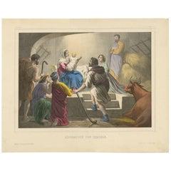 Antique Religious Print 'No. 5' The Adoration of the Shepherds, circa 1840