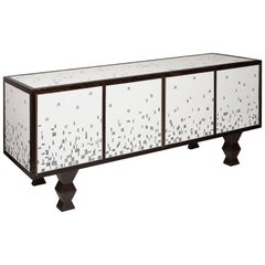 One of a Kind Pinewood Sideboard Veneered with a Ceramic Mosaic