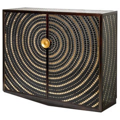 Pinewood Cabinet Veneered with a Mosaic of Black and Gold Ceramic