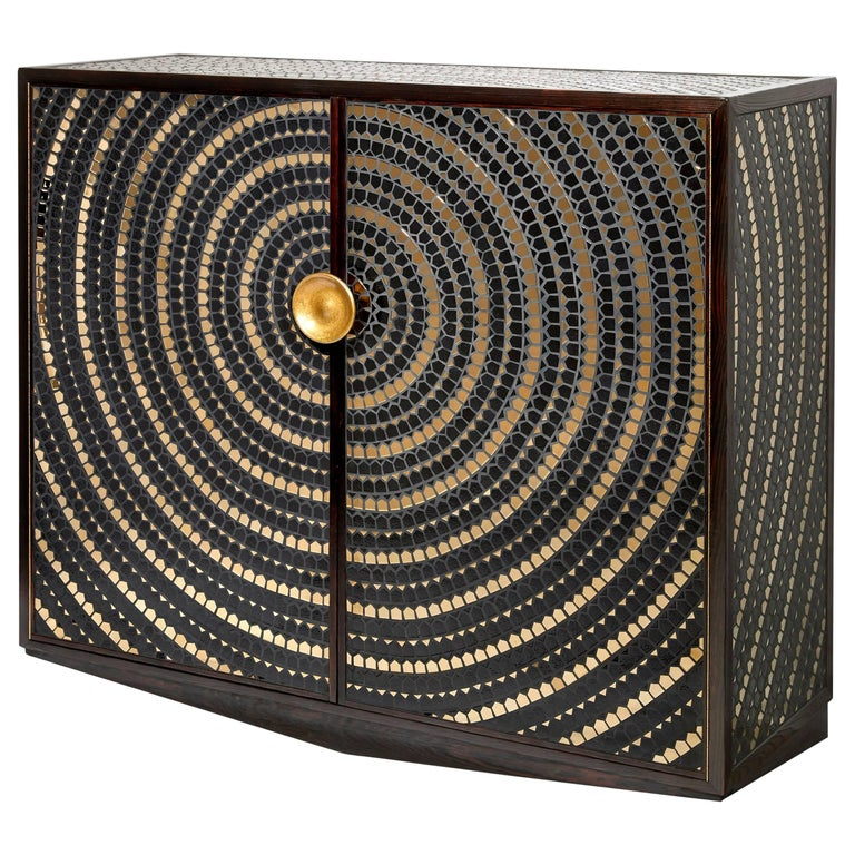 Pinewood Cabinet Veneered with a Mosaic of Black and Gold Ceramic For Sale
