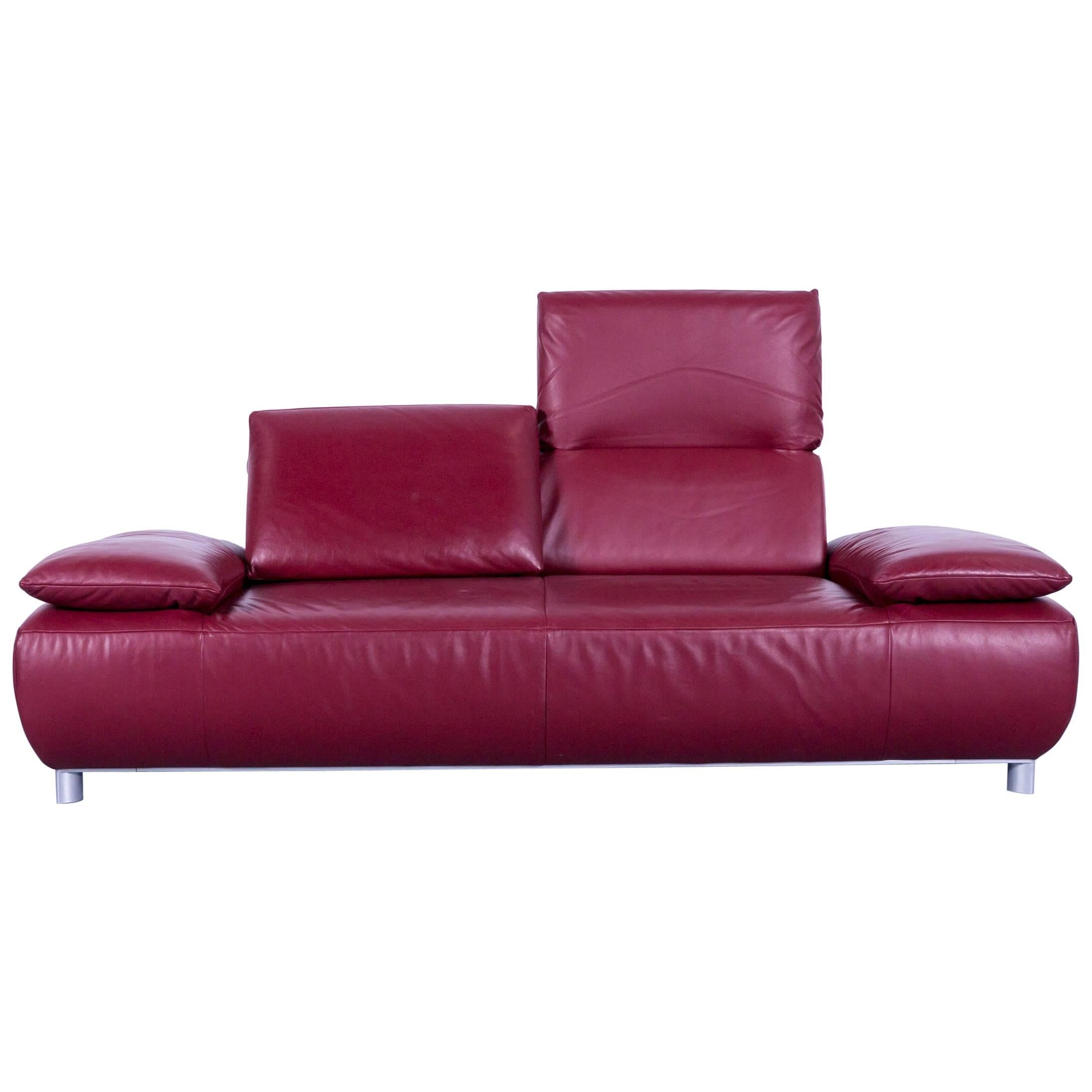 Koinor Volare Designer Sofa Leather Red Three Seat Couch, Germany