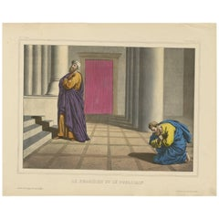 Antique Religious Print 'No. 16' The Pharisee and the Publican, circa 1840