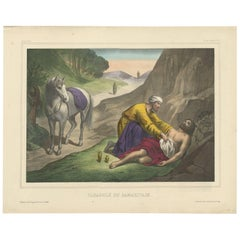 Antique Religious Print 'No. 15' The Parable of the Good Samaritan, circa 1840
