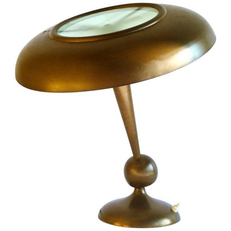 Oscar Torlasco by Lumi Italian Design Midcentury 1950s Brass Table Lamp