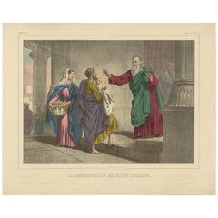 Antique Religious Print 'No. 7' Presentation of Jesus at the Temple, circa 1840