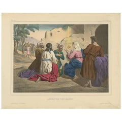 Antique Religious Print 'No. 6' The Adoration of the Magi, circa 1840