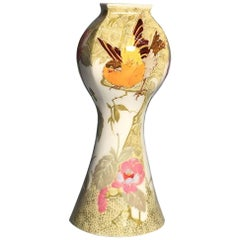 Rozenburg Egg-Shell Tiny Vase with Colorful Two Birds and Floral Decor