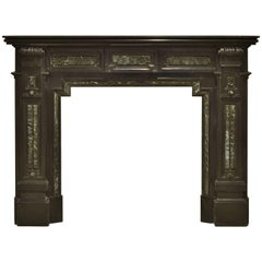 Monumental Dutch Black Marble Fireplace Mantel with Green Details