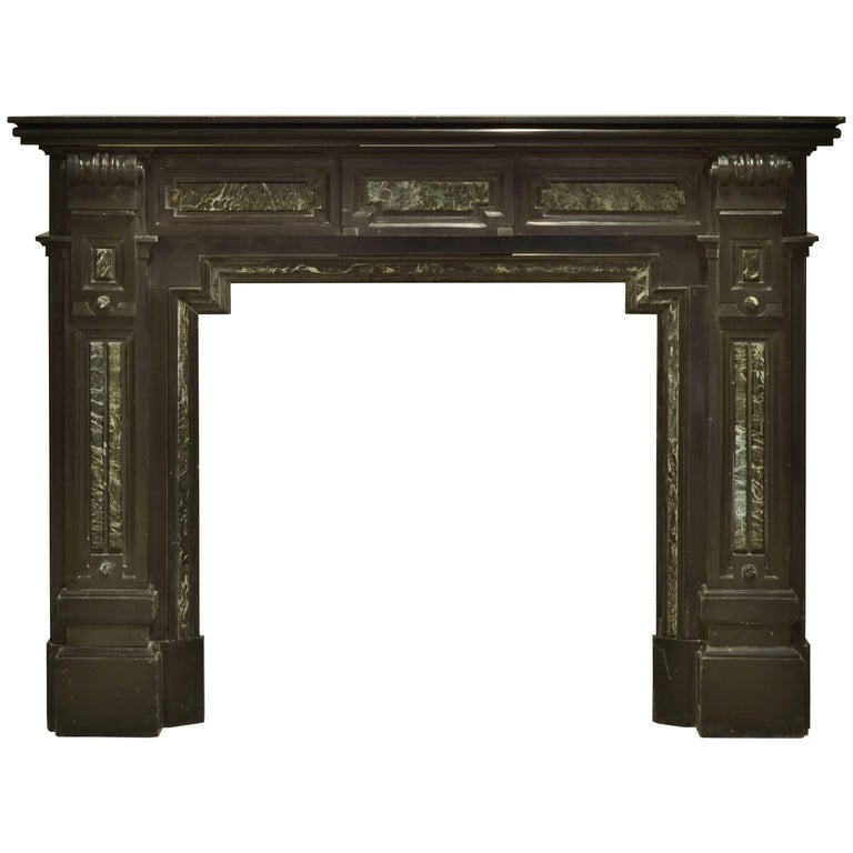 Monumental Dutch Black Marble Fireplace Mantel with Green Details For Sale
