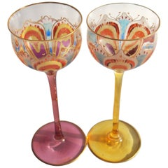 Pair of Art Nouveau Meyr's Neffe Psychodelic Flower Glasses