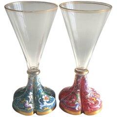 Moser Pair of Art Nouveau Pink and Blue Opal Liquor Glasses