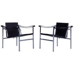Cassina Le Corbusier LC 1 Sling Chair Set Black Leather Bauhaus