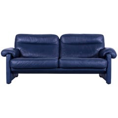 De Sede DS 70 Designer Sofa Navy Blue Leather Two-Seat Couch, Switzerland